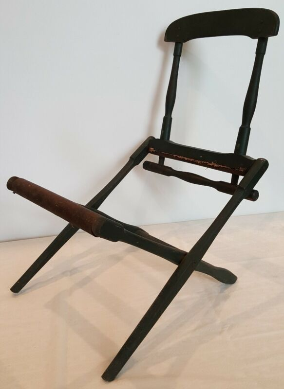 Wooden Military Campaign Folding Chair Dark Green Officers Civil War? Field Camp