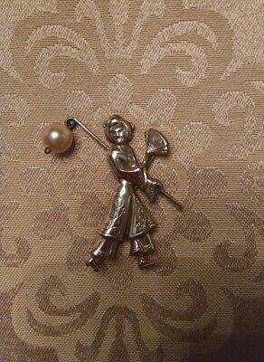 Vintage Lang Sterling Silver 925 Oriental Woman Floral Pearl Dangle Pin Brooch