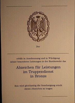 Bundeswehr - Urkunde für das Leistungsabzeichen in BRONZE