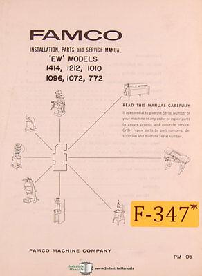 Famco Ew Models Shear Install Service And Parts Manual