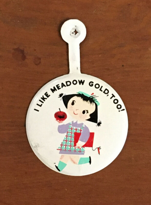 Mary Blair I Like Meadow Gold Too Push Back Button Ice Cream Dairy Advertising