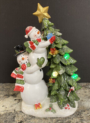"""Lighted Christmas Tree Snowman Family 13"""" Tall Decorating Tree Color Changing"""