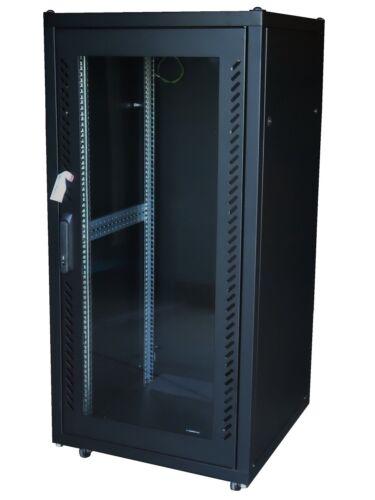 25U 600mm deep server cabinet rack glass front & vented rear BLACK