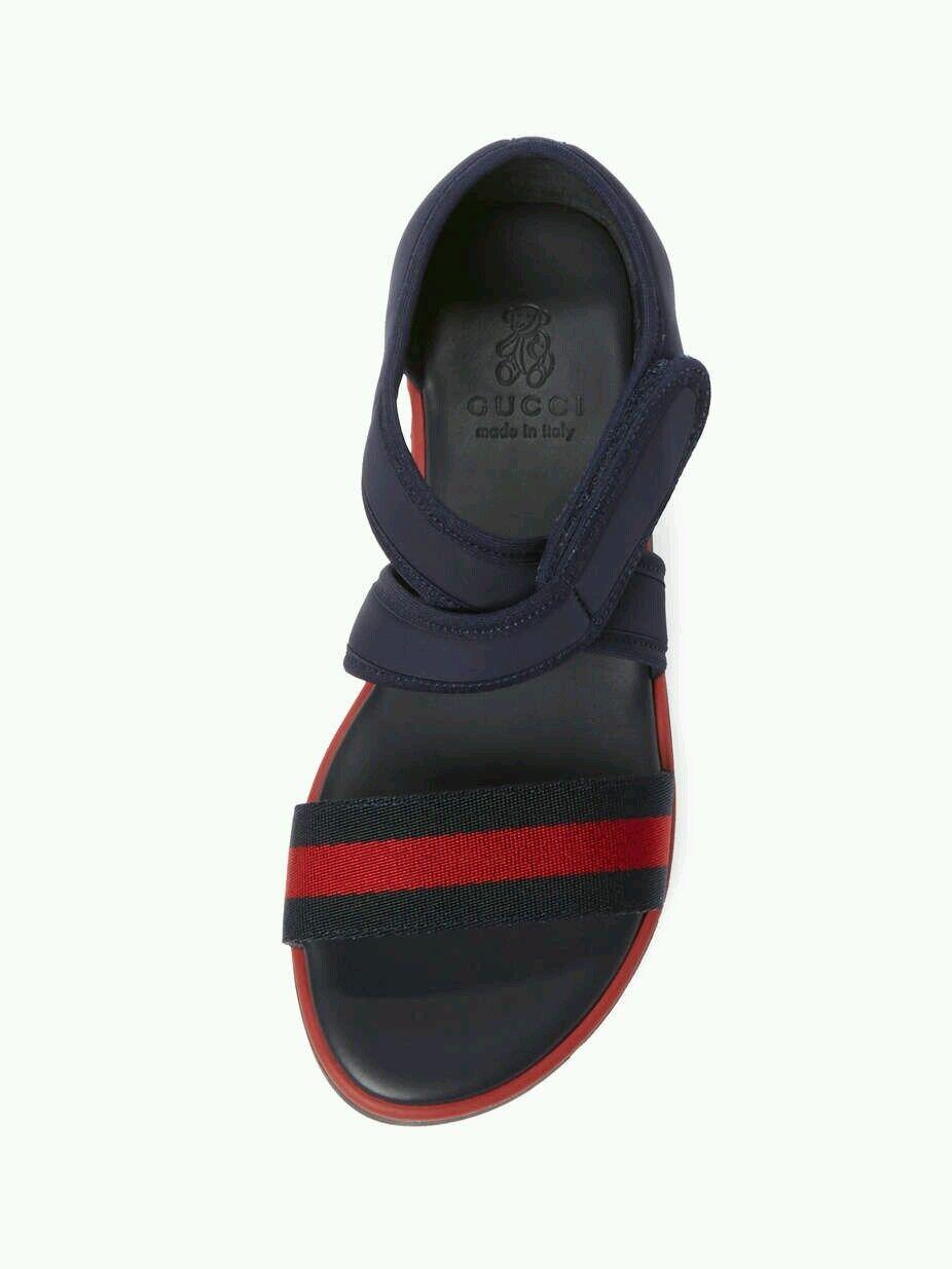 NIB NEW Gucci boys kids navy blue red web strap sandals 20 4 21 5 371588 1