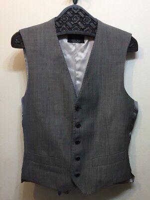 Zara Man Vest Suiting Grey Medium 5 Button Silk Wool Blend for sale  Brampton