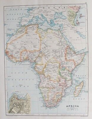 OLD ANTIQUE MAP AFRICA plan CAPE TOWN c1906 by BARTHOLOMEW 19th C PRINTED COLOUR