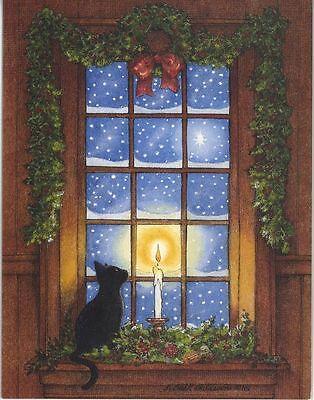 CHRISTMAS BLACK CAT SNOW WINTER CANDLE STARS 1 CHICKEN VESUVIO WINE RECIPE CARD