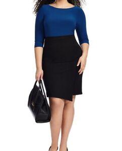 Adrianna Papell Stretch Jersey Color Block Asymmetrical Sheath Dress Size 16W