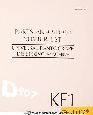Deckel Kf1 Universal Pantograph Die Sinking Parts Lists Manual