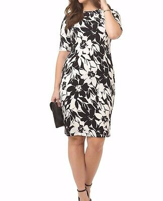 London Times Matte Jersey Sheath Dress In Black And White Floral Size 14W