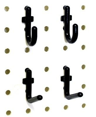 100 Black Locking Plastic Peg Board Hooks 14 In. Pegboard