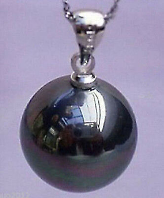 Beautiful 14mm South Sea Black Real Shell Pearl Pendant Necklace 17