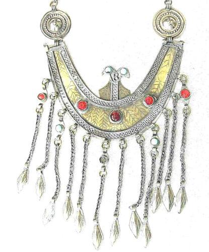 Yemenite Antique Jewish tribal filigree gilt silver bridal breast Large necklace