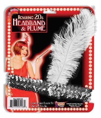 Roaring 20s Headband (Silver Sequin Feather Flapper Headband Headpiece Roaring 20'S Costume)