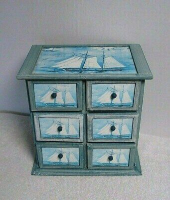 wooden 6 Drawer nautical sail ship Trinket Jewelry Storage Box Chest organizer