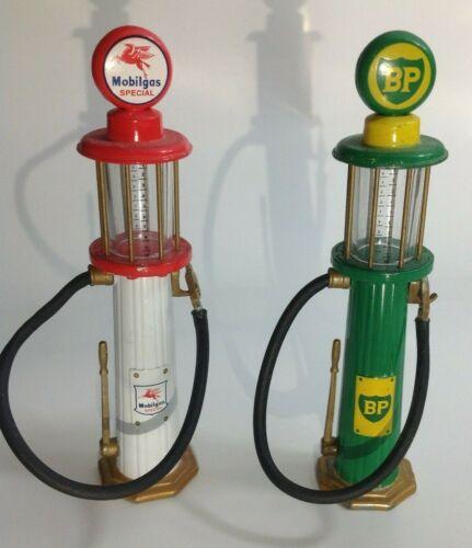 "Pair of Gearbox Wayne Gas Pump Miniature Replicas, Visible BP & Mobilgas 5"" Tall"