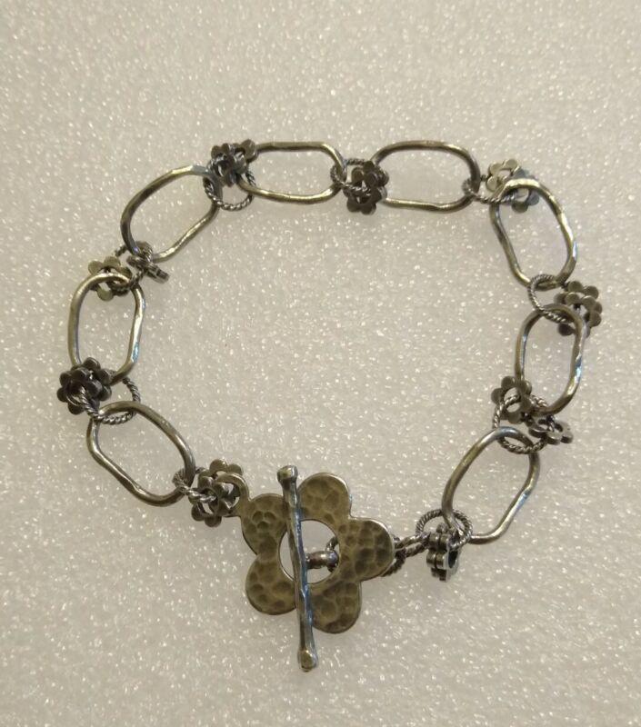"""Vintage Retired Silpada 925 Sterling Silver Antiqued 8"""" Flower Bracelet"""