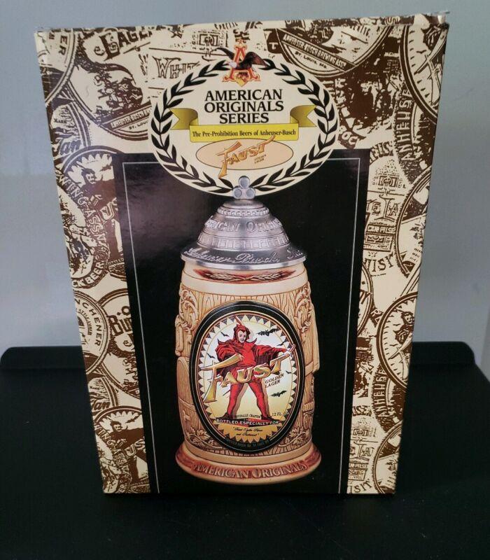 1998 Anheuser Busch Faust Lager Stein American Originals Series CS330 Box COA