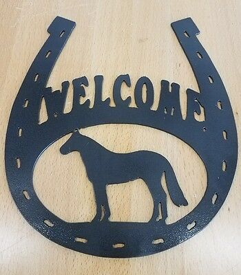 Welcome Horseshoe sign metal wall art plasma cut home decor gift idea - Horseshoe Decoration Ideas