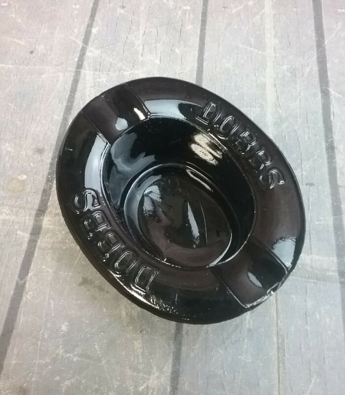 Vintage Black Glass Top Hat Advertising Ashtray Dobbs Fifth Avenue NY