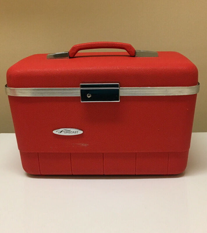 Vtg Red Forecast Hard Sides Train Case Luggage W/Mirror Makeup Tray Two Pouches