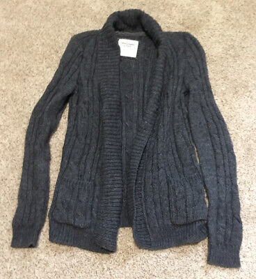 ABERCROMBIE & FITCH GREY SWEATER CARDIGAN SIZE LARGE
