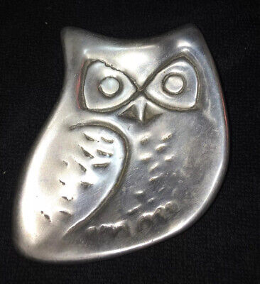 Signed Artisan Hand Crafted Pewter Metal Silver Tone OWL Trinket  Dish Plate