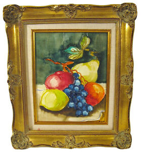 Still life fruits oil painting framed in antique ornate for Oil painting templates