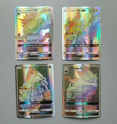 Pokemon GX Flash Cards Full Art Holo - Incineroar Solgageo Tapu Lele Tapu Koko