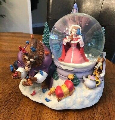 Rare Large Vintage Disney Beauty and the Beast Musical Snow Globe