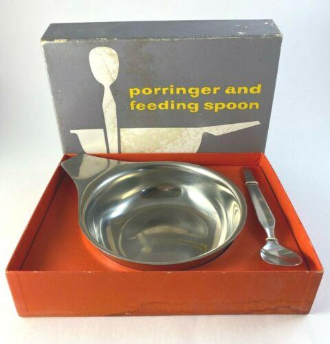 Vtg WMF Cromargan Baby Porringer and Feeding Spoon in Box Fraser
