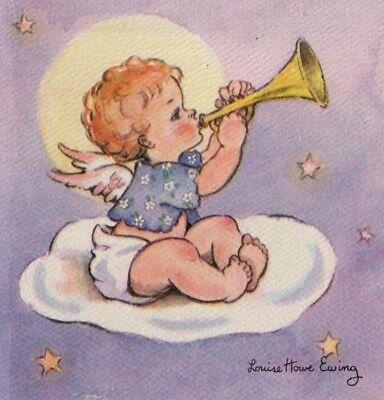 VTG PURPLE CHRISTMAS CARD BABY ANGEL CHERUB PLAYING TRUMPET ON CLOUD PINK WINGS