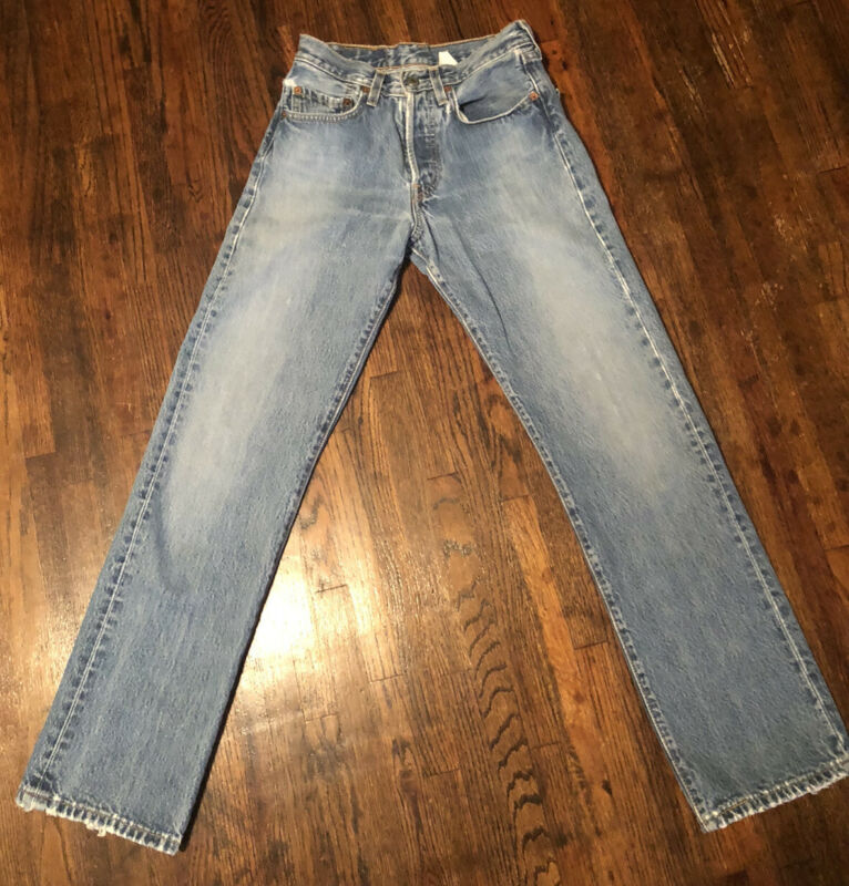 Vintage 90s Levis 501 Denim Jeans 501-0186 Size 27 Faded Distressed