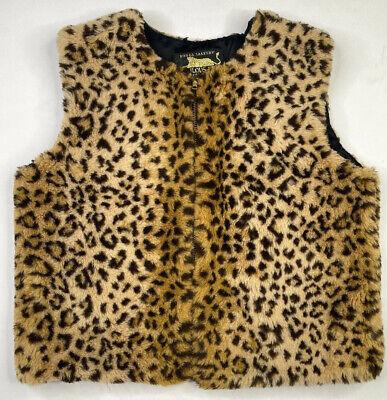 Donna Salyer's Fabulous Furs Leopard Faux Fur Vest - Size XS / S Made In USA Vtg