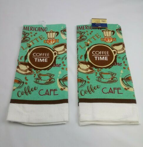 Set of 2 Kitchen Dish Hand Towels Brand New Coffee Cup Cafe