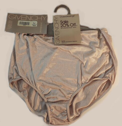 Givenchy Vintage Panties Light Brown Nylon Silky Logo Small GRANNY Briefs NWT
