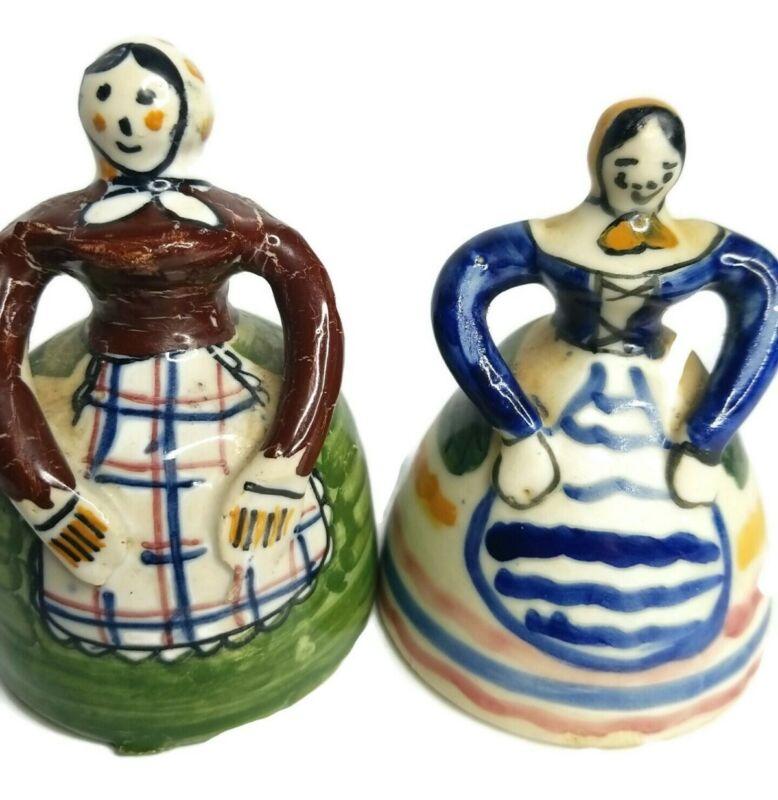 "Peasant 2 Women Bells Hand Painted Italy Ceramic 4.5"" Vintage multicolored- C19"