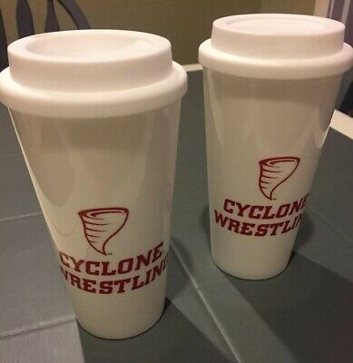 Lot of 2  -  Iowa State Cyclones Wrestling  -  Cup Tea Drink Mug -