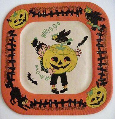 Festlich Vintage Halloween Papier Platte W / Eule, - Halloween Papier Platten