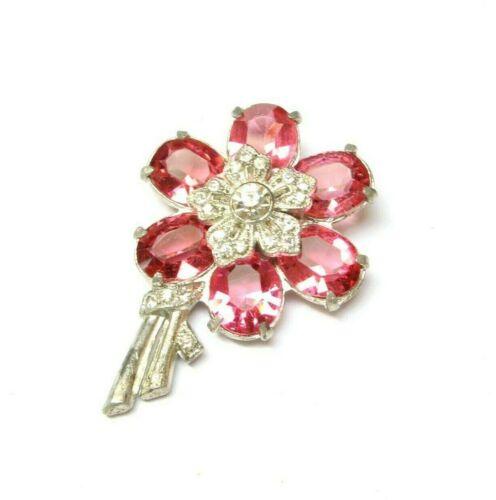 VINTAGE Rhinestone Dress CLIP Flower PINK Jeweled Shoe Clip Unfoiled Glass 1930s