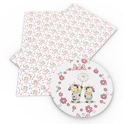 - A4 Heart PrintedFaux Vinyl Leatherette Fabric SheetsDIY HandmadeBowsCraft
