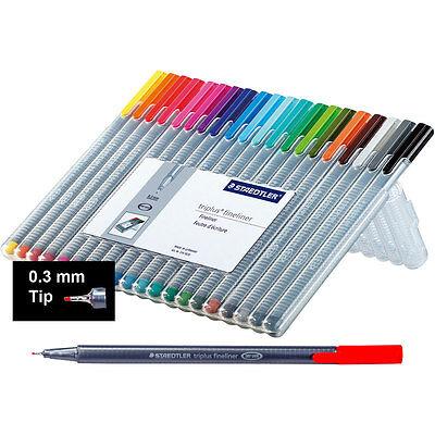 Staedtler 334sb20 Triplus Fineliner Marker 0.3mm 20 Color Set With Easel Case