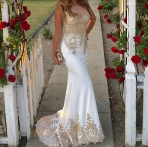 Gold lace beaded evening prom dress
