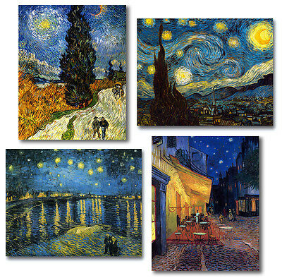 Van Gogh 4 Fine Art Giclee Canvas Repros Cafe Terrace Starry Night Rhone Cypress
