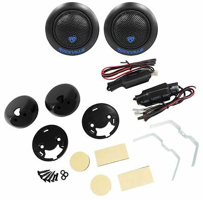 "Pair Rockville RT6  240 Watt Car 1"" Silk Dome Neo Swivel Tweeters+Crossovers"