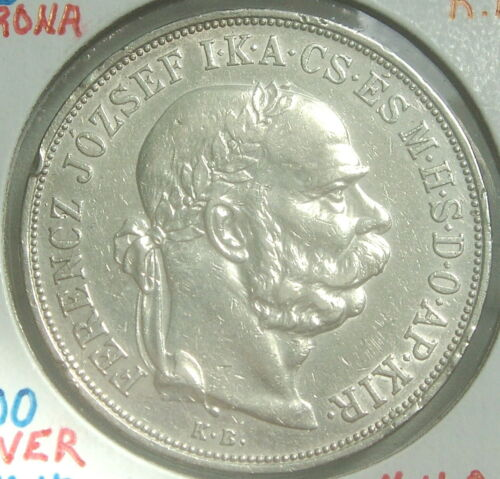 Hungary, Franz Joseph I, 5 Korona, 1900 KB, Silver, KM 487 BEAUTIFUL COIN