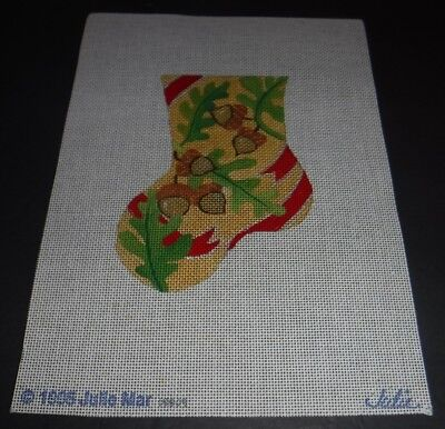 (New 1995 Julie Mar Needlepoint Canvas Mini Christmas Stocking Acorns Leaves)