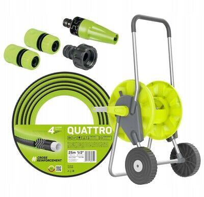Portable Trolley Reel Nozzle 25m Garden Hose Pipe Outdoor Watering Cart
