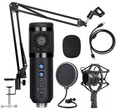 Microfono de condensador cardioide para estudio ordenador PC USB profesional
