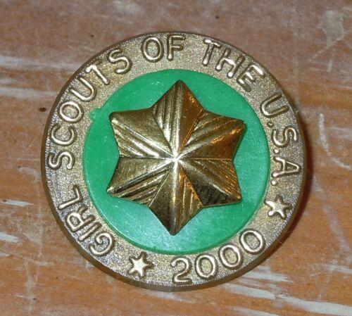 VINTAGE Girl Scout YEAR 2000 MILLENNIUM DISC Disk Attendance Membership Pin RARE